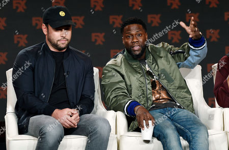 """Kevin Hart, Scooter Braun. Kevin Hart, right, and Scooter Braun, executive producers of the FX comedy series """"Dave,"""" take part in a panel discussion on the show at the 2020 FX Networks Television Critics Association Winter Press Tour, in Pasadena, Calif"""