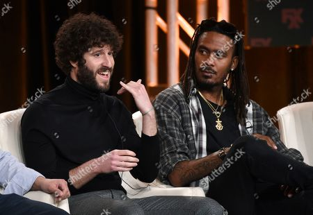 """Stock Photo of Lil Dicky, GaTa. Lil Dicky, left, co-creator/executive producer/writer/star of the FX comedy series """"Dave,"""" discusses the show alongside cast member GaTa at the 2020 FX Networks Television Critics Association Winter Press Tour, in Pasadena, Calif"""