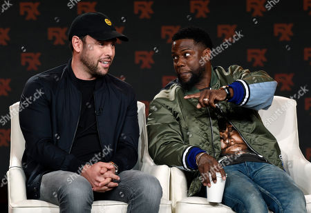 "Stock Image of Scooter Braun, Kevin Hart. Scooter Braun, left, and Kevin Hart, executive producers of the FX comedy series ""Dave,"" take part in a panel discussion on the show at the 2020 FX Networks Television Critics Association Winter Press Tour, in Pasadena, Calif"
