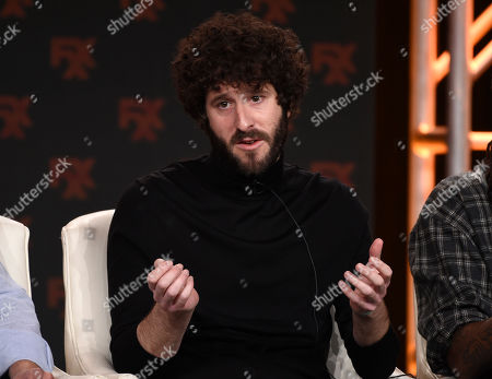 """Lil Dicky, the co-creator/executive producer/writer/star of the FX comedy series """"Dave,"""" takes part in a panel discussion on the show at the 2020 FX Networks Television Critics Association Winter Press Tour, in Pasadena, Calif"""