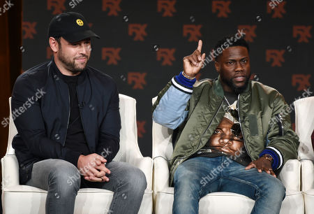 """Stock Picture of Scooter Braun, Kevin Hart. Scooter Braun, left, and Kevin Hart, executive producers of the FX comedy series """"Dave,"""" take part in a panel discussion on the show at the 2020 FX Networks Television Critics Association Winter Press Tour, in Pasadena, Calif"""