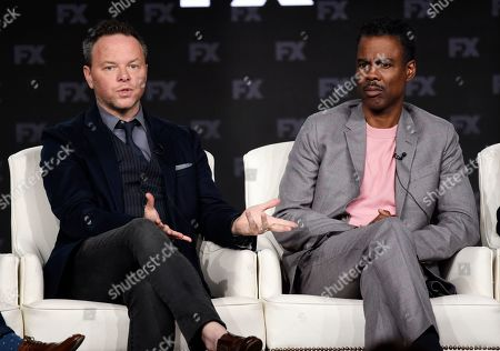 """Noah Hawley, Chris Rock. Noah Hawley, left, the creator/executive producer/writer/director of the FX series """"Fargo,"""" discusses the show alongside cast member Chris Rock at the 2020 FX Networks Television Critics Association Winter Press Tour, in Pasadena, Calif"""
