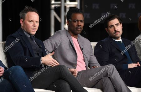 """Noah Hawley, Chris Rock, Jason Schwartzman. Noah Hawley, left, the creator/executive producer/writer/director of the FX series """"Fargo,"""" takes part in a panel discussion on the show alongside cast members Chris Rock, center, and Jason Schwartzman at the 2020 FX Networks Television Critics Association Winter Press Tour, in Pasadena, Calif"""