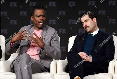 """Chris Rock, Jason Schwartzman. Chris Rock, left, and Jason Schwartzman, cast members in the FX series """"Fargo,"""" take part in a panel discussion on the show at the 2020 FX Networks Television Critics Association Winter Press Tour, in Pasadena, Calif"""