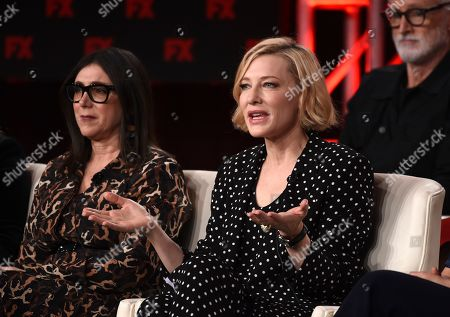 "Cate Blanchett, Stacey Sher. Cate Blanchett, right, a cast member and executive producer of the FX on Hulu limited series ""Mrs. America,"" discusses the show alongside executive producer Stacey Sher at the 2020 FX Networks Television Critics Association Winter Press Tour, in Pasadena, Calif"