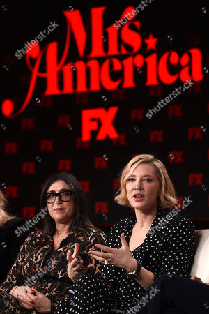 "Cate Blanchett, Stacey Sher. Cate Blanchett, right, a cast member and executive producer of the FX on Hulu limited series ""Mrs. America,"" discusses the show as executive producer Stacey Sher look on at the 2020 FX Networks Television Critics Association Winter Press Tour, in Pasadena, Calif"