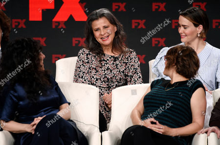 "Tracey Ullman, Dahvi Waller, Anna Boden, Sarah Paulson. Tracey Ullman, center, a cast member in the FX on Hulu limited series ""Mrs. America,"" takes part in a panel discussion on the show with creator/executive producer Dahvi Waller, bottom left, executive producer/director Anna Boden, bottom right, and cast member Sarah Paulson at the 2020 FX Networks Television Critics Association Winter Press Tour, in Pasadena, Calif"
