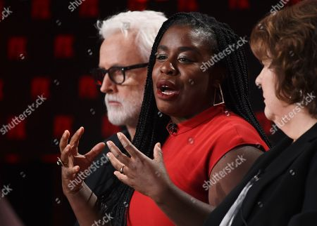 """Uzo Aduba, John Slattery, Margo Martindale. Uzo Aduba, a cast member in the FX on Hulu limited series """"Mrs. America,"""" takes part in a panel discussion on the show alongside fellow cast members John Slattery, left, and Margo Martindale at the 2020 FX Networks Television Critics Association Winter Press Tour, in Pasadena, Calif"""