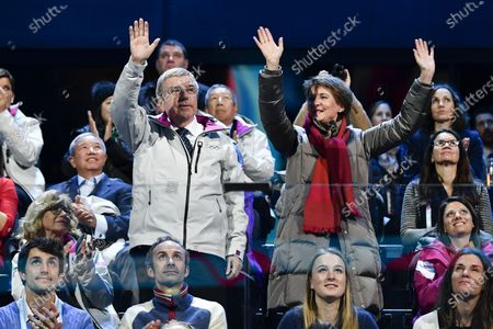 Stock Image of Swiss Federal President Simonetta Sommaruga (R) and International Olympic Committee (IOC) President Thomas Bach (L) from Germany cheer during the opening ceremony of the Lausanne 2020 Winter Youth Olympic Games at the Vaudoise Arena, in Lausanne, Switzerland, 09 January 2020. The 3rd Winter Youth Olympic Games will take place in Lausanne from 9 to 22 January 2020.