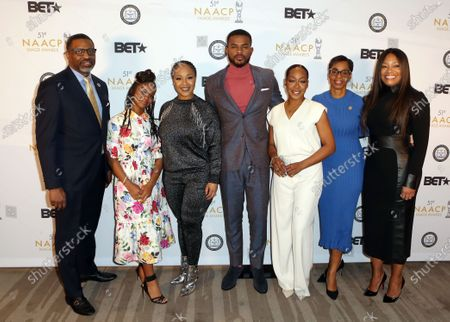 NAACP President and CEO Derrick Johnson, Marsai Martin, Erica Atkins, Trevor Jackson, Tichina Arnold, NAACP Vice-Chairman of the Board of Directors Karen Boykin-Towns and Executive Vice President and Head of Programming at BET Network, Connie Orlando.