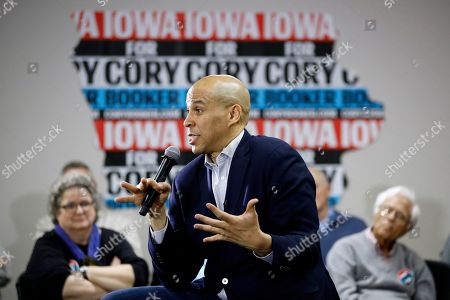 Democratic presidential candidate, Sen. Cory Booker, D-N.J., speaks during a campaign event, in North Liberty, Iowa