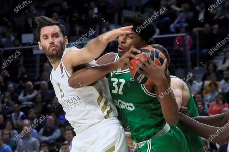 Zalgiris Kaunas' forward Zach Leday (R) in action against Rudy Fernandez (L) of Real Madrid during the Euroleague basketball match between Real Madrid and Zalgiris Kaunas played at WiZink Center, in Madrid, Spain, 09 January 2020.