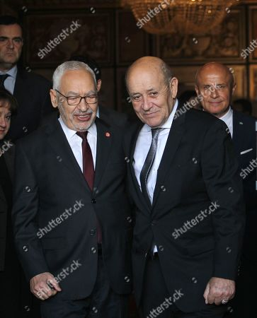 Stock Photo of Tunisian President of Parliament Rached Ghannouchi and French Foreign Affairs Minister Jean-Yves Le Drian in Tunis for talks on the Libyan crisis