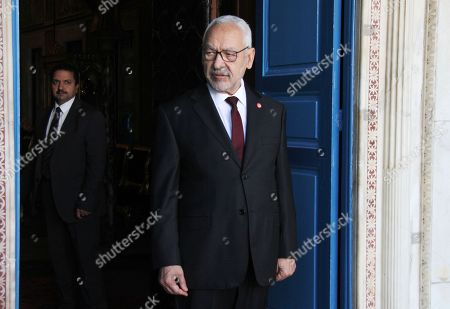 Tunisian President of Parliament Rached Ghannouchi before his meeting