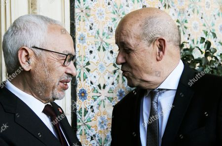 Stock Picture of Tunisian President of Parliament Rached Ghannouchi and French Foreign Affairs Minister Jean-Yves Le Drian in Tunis for talks on the Libyan crisis