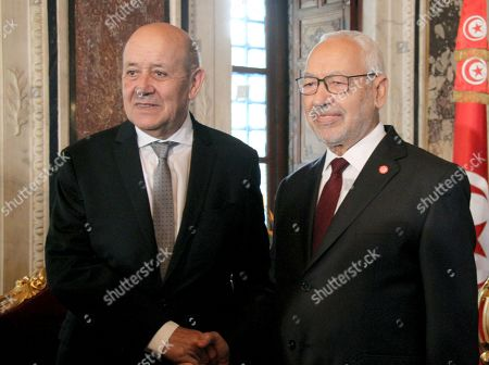 Tunisian President of Parliament Rached Ghannouchi and French Foreign Affairs Minister Jean-Yves Le Drian in Tunis for talks on the Libyan crisis