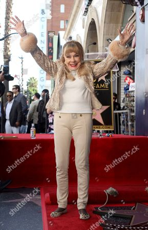 Terry Moore attends a ceremony honoring Burt Ward with a star at the Hollywood Walk of Fame, in Los Angeles