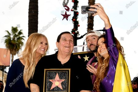 US TV host Nancy O'Dell, US actor Burt Ward, US filmmaker Kevin Smith and US TV personality Maria Menounos pose for a selfie as they attend a ceremony honoring Ward with a star on the Hollywood Walk of Fame, in Hollywood, California, USA, 09 January 2020. Ward, best known as Robin in the 1960s 'Batman' television series, received the 2,683rd star on the Hollywood Walk of Fame, dedicated in the Category of Television.