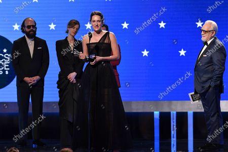 Brett Gelman, Isobel Waller-Bridge, Phoebe Waller-Bridge - Best Comedy Series - Fleabag and Brian Cox