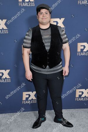 Harvey Guillen poses at the the FX portion of theTelevision Critics Association Winter press tour, in Pasadena, Calif