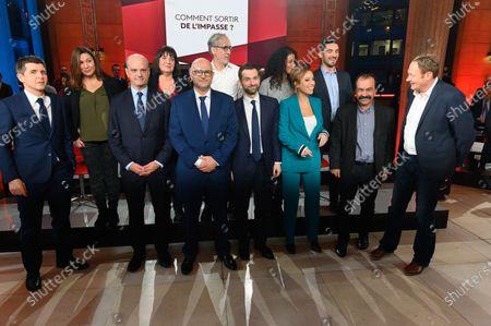 Stock Image of Thomas Sotto, Jean-Michel Blanquer, Laurent Pietraszewski, Fabrice Le Sache, Lea Salame, Philippe Martinez, Laurent Escure and guest