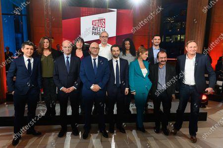 Thomas Sotto, Jean-Michel Blanquer, Laurent Pietraszewski, Fabrice Le Sache, Lea Salame, Philippe Martinez, Laurent Escure and guest