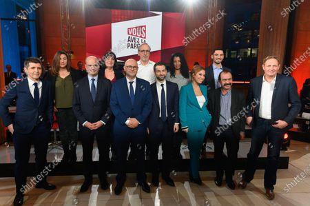 Stock Photo of Thomas Sotto, Jean-Michel Blanquer, Laurent Pietraszewski, Fabrice Le Sache, Lea Salame, Philippe Martinez, Laurent Escure and guest