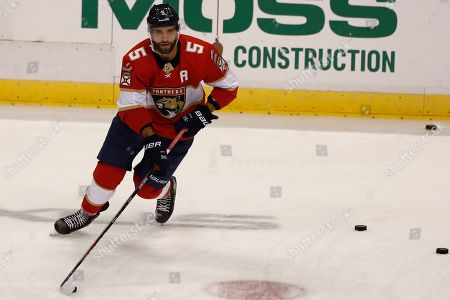 Florida Panthers defenseman Aaron Ekblad (5) during practice before an NHL hockey game against the, in Sunrise, Fla