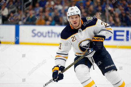 Buffalo Sabres' Kyle Okposo in action during the second period of an NHL hockey game against the St. Louis Blues, in St. Louis