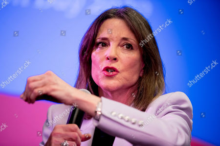 Democratic presidential candidate Marianne Williamson speaks at a the Faith, Politics and the Common Good Forum at Franklin Jr. High School, in Des Moines, Iowa