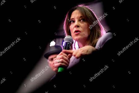 Stock Photo of Democratic presidential candidate Marianne Williamson speaks at a the Faith, Politics and the Common Good Forum at Franklin Jr. High School, in Des Moines, Iowa