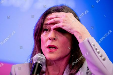 Stock Image of Democratic presidential candidate Marianne Williamson speaks at a the Faith, Politics and the Common Good Forum at Franklin Jr. High School, in Des Moines, Iowa