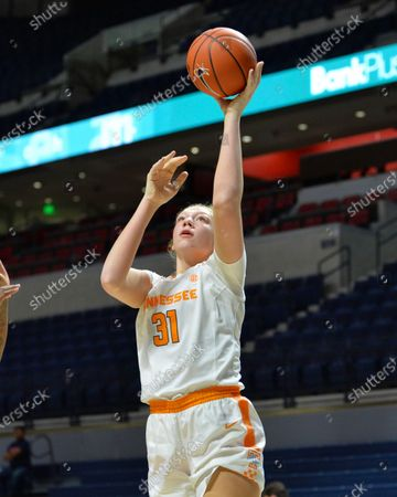 Stock Image of Tennessee center, Emily Saunders (31), goes up for a jump shot during the NCAA women's basketball game between the Tennessee Lady Volunteers and the Ole' Miss Rebels at The Pavillion in Oxford, MS. Kevin Langley/Sports South Media/CSM