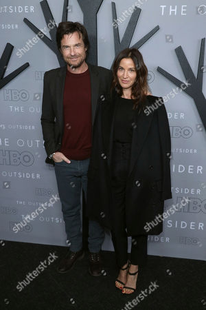 "Stock Picture of Jason Bateman, Amanda Anka. Jason Bateman, left, and Amanda Anka attend the LA Premiere of ""The Outsider"" at the Directors Guild of America, in Los Angeles"