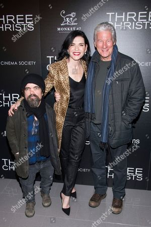 """Peter Dinklage, Julianna Margulies, Richard Gere. Peter Dinklage, left, Julianna Margulies and Richard Gere attend a screening of """"Three Christs"""", hosted by IFC Films and The Cinema Society, at Regal Essex Crossing on in New York"""
