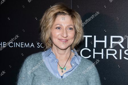 "Edie Falco attends a screening of ""Three Christs"", hosted by IFC Films and The Cinema Society, at Regal Essex Crossing on in New York"
