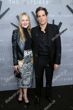 "Linda Larkin, Yul Vazquez. Linda Larkin, left, and Yul Vazquez attend the LA Premiere of ""The Outsider"" at the Directors Guild of America, in Los Angeles"