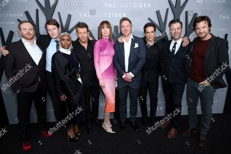 "Jeremy Bobb, Derek Cecil, Cynthia Erivo, Max Beesley, Julianne Nicholson, Marc Menchaca, Yul Vazquez, Paddy Considine, Jason Bateman. Jeremy Bobb, from left, Derek Cecil, Cynthia Erivo, Max Beesley, Julianne Nicholson, Marc Menchaca, Yul Vazquez, Paddy Considine and Jason Bateman attend the LA Premiere of ""The Outsider"" at the Directors Guild of America, in Los Angeles"