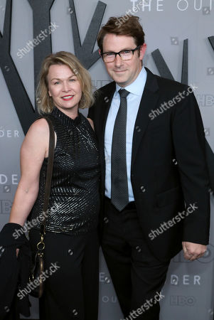 """Melissa Bruning, Derek Cecil. Melissa Bruning, left, and Derek Cecil attend the LA Premiere of """"The Outsider"""" at the Directors Guild of America, in Los Angeles"""