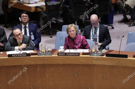 Stock Photo of Mary Robinson, Chair of The Elders during the Security Council meeting on maintenance of international peace and security and upholding the United Nations Charter