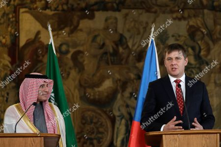 Czech Republic's foreign minister Tomas Patricek, right, addresses the media during a press conference with Saudi Arabia's foreign minister Adel al-Jubeir, left, in Prague, Czech Republic