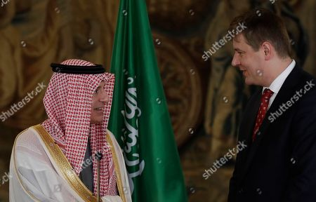 Czech Republic's foreign minister Tomas Patricek, right, talk during a press conference with Saudi Arabia's foreign minister Adel al-Jubeir, left, in Prague, Czech Republic