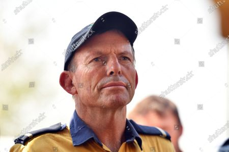Australian former prime minister Tony Abbott at the Adaminaby Rural Fire Service station, in Adaminaby, New South Wales, Australia, 10 January 2020. Abbott on the day joined volunteers fighting bushfires south of Canberra.