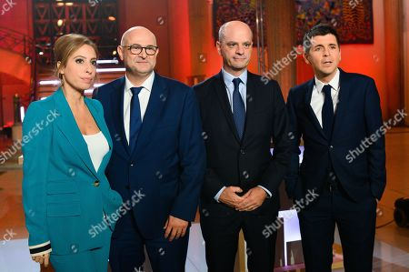 Lea Salame, French High Commissioner for Pension Reform Laurent Pietraszewski, French Education Minister Jean-Michel Blanquer and Thomas Sotto.