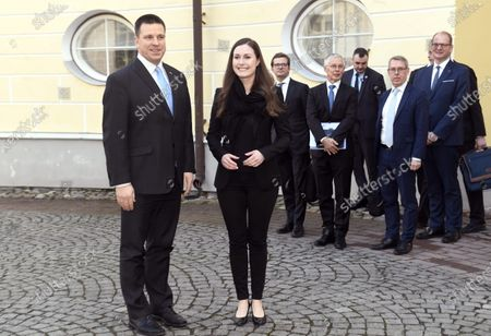 Stock Picture of Finnish Prime Minister Sanna Marin (R) meets with her Estonian counterpart Juri Ratas in Tallinn