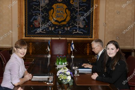 Stock Picture of Finish Prime Minister Sanna Marin talks with Estonian President Kersti Kaljulaid in Tallinn. Marin is in Estonia on a one-day visit.
