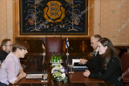 Stock Image of Finish Prime Minister Sanna Marin talks with Estonian President Kersti Kaljulaid in Tallinn. Marin is in Estonia on a one-day visit.
