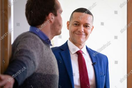 Clive Lewis arrives at the Black Cultural Archives in Brixton to launch his campaign for Leader of the Labour Party.