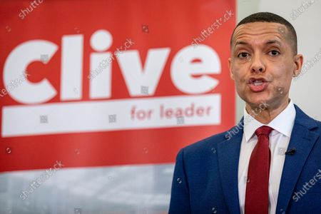 Stock Picture of Clive Lewis speaking at the Black Cultural Archives in Brixton to launch his campaign for Leader of the Labour Party.