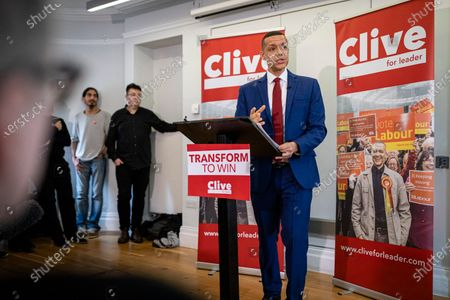 Stock Image of Clive Lewis speaking at the Black Cultural Archives in Brixton to launch his campaign for Leader of the Labour Party.
